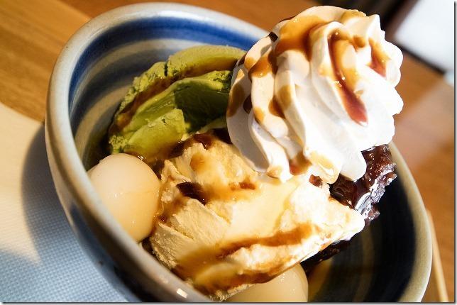 伊都の湯どころで、抹茶白玉アイス