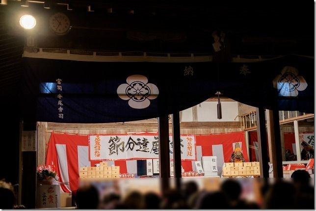 福岡飯盛神社の節分祭の豆まき