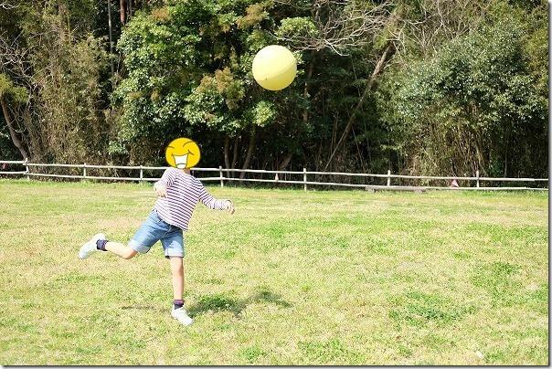かなたけの里公園で子供とボール投げ