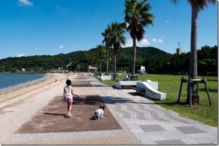 今宿海岸(長垂海浜公園)で子供と犬と散歩