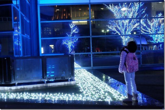 子供と福岡タワーのイルミネーション