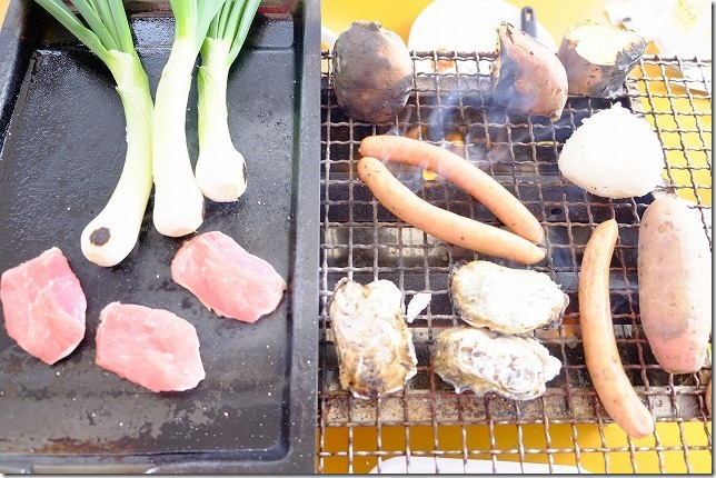 糸島牡蠣小屋、福吉漁港・伸栄丸(佐々木)で肉、芋、ウインナー