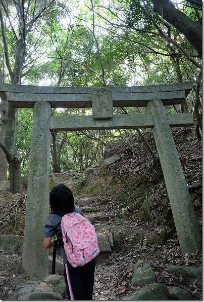 生松台中央公園へ下山の道、鳥居