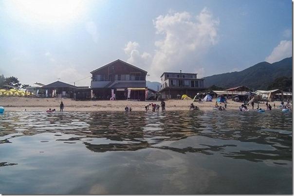 深江海水浴場、海の家、波