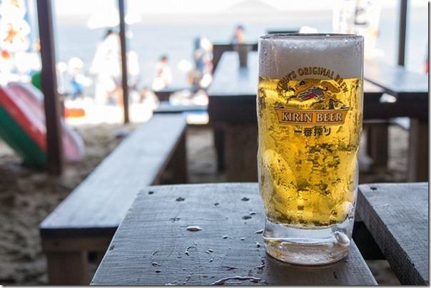 糸島、海の家、波の生ビール