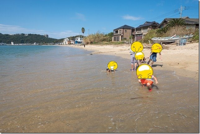 糸島,初音旅館で水遊び