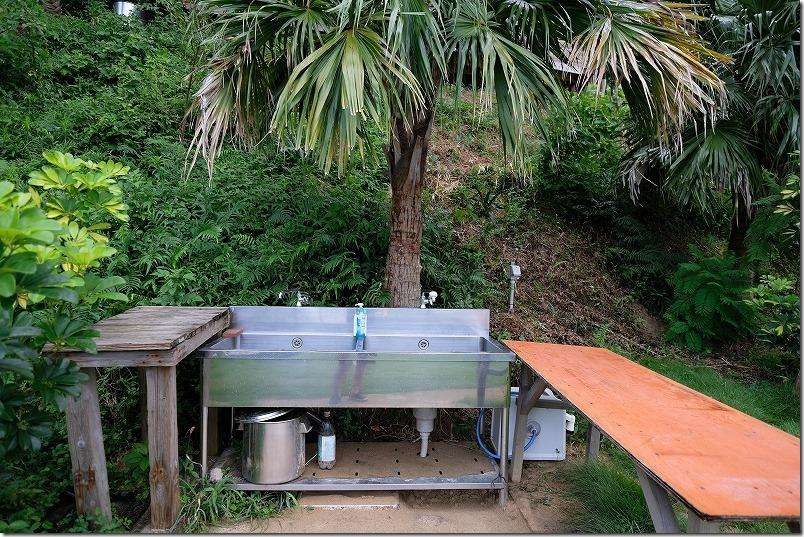糸島でキャンプ、HIDEAWAY、sunset、campの炊事場