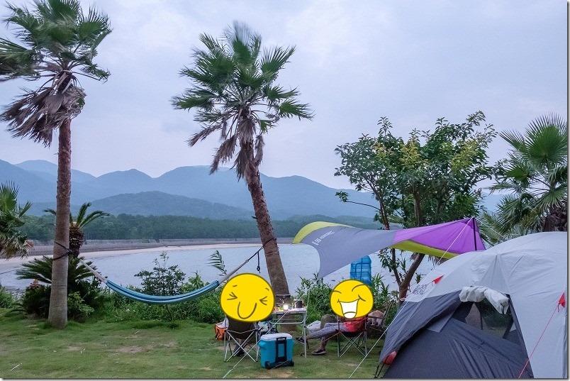糸島でキャンプ、HIDEAWAY、sunset、campのハンモック