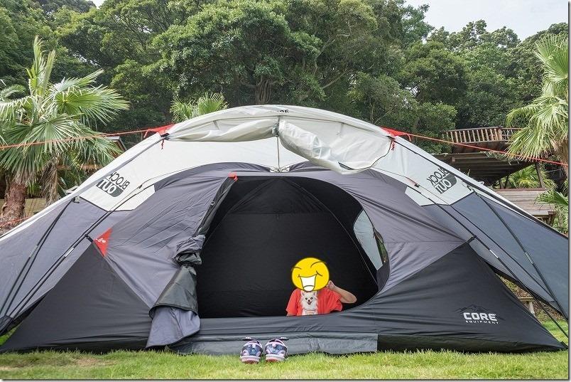 糸島でキャンプ、CoreBlockoutのテントを利用