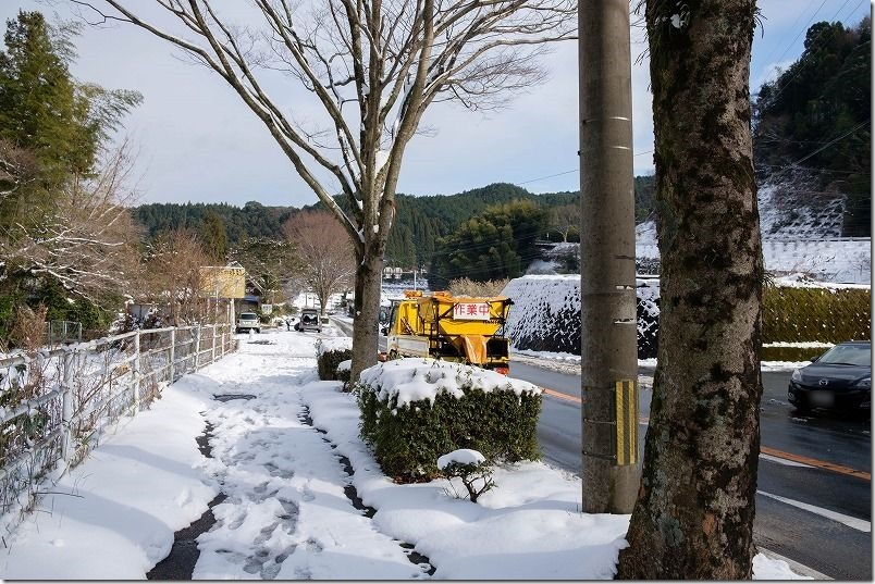 三瀬峠への福岡側からの登り口付近、雪