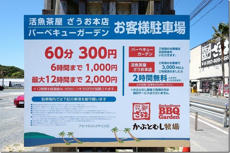 糸島ざうお本店のヤシの木ブランコ・サメ、駐車場料金